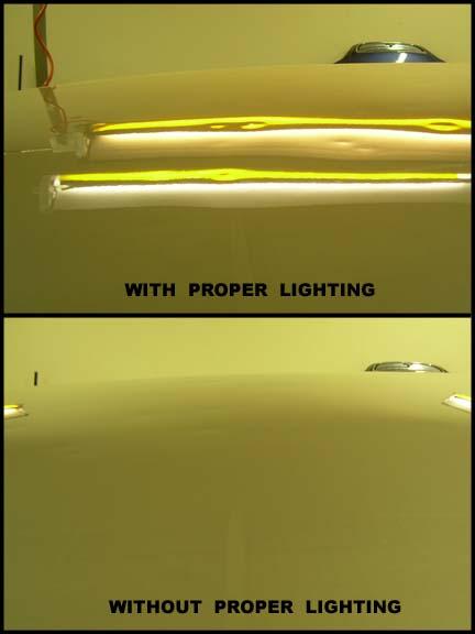 Proper reflection lighting for hail estimating