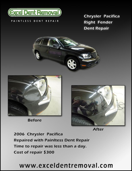 Paintless Dent Removal of fender dent