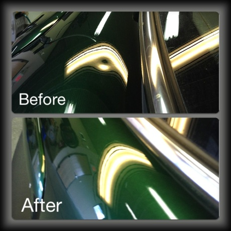 Before & After of Paintless Dent Removal on MIni Cooper